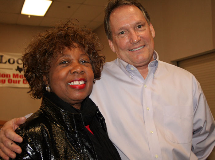 NAACP President Juanita Wallace with Dallas AFL-CIO head Mark York